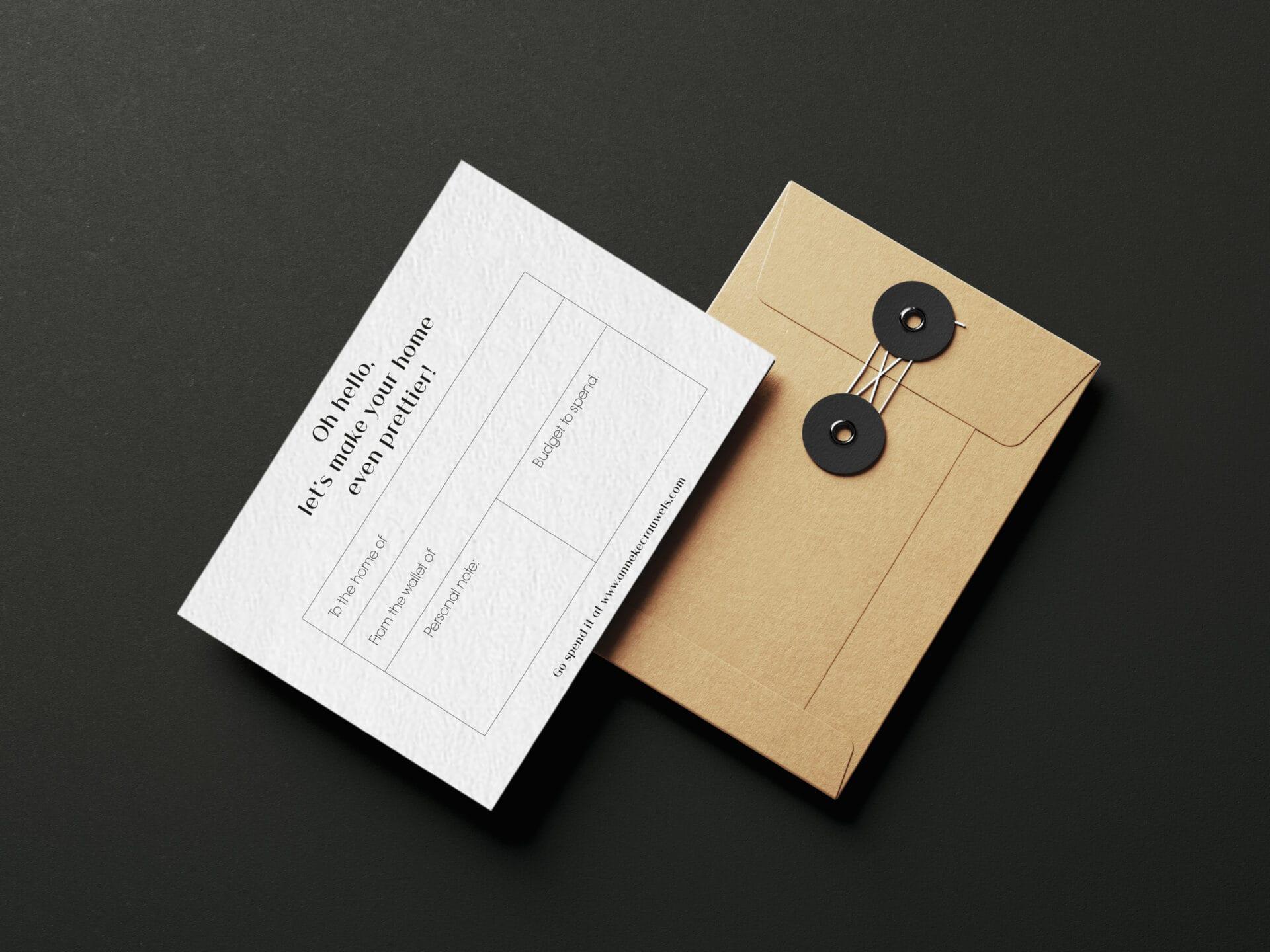 Giftcard Mockup | Design Studio Anneke Crauwels | Interieur | Mechelen